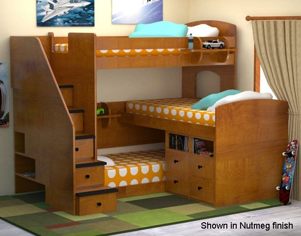 Three Person Bunk Bed Small Bedroom Pinterest Loft bunk beds