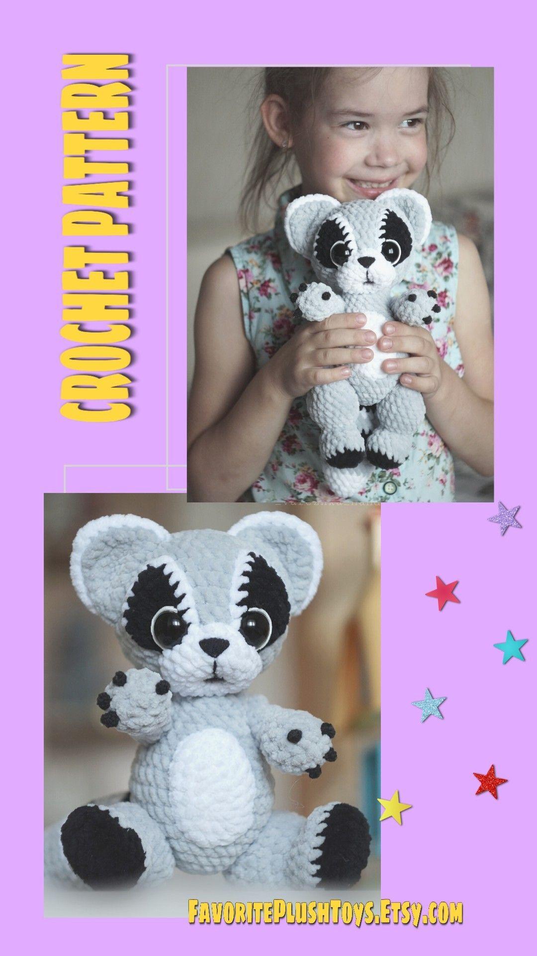 Crochet raccoon pattern, Amigurumi animals tutorial, soft toy PDF file RACCOON 9,2