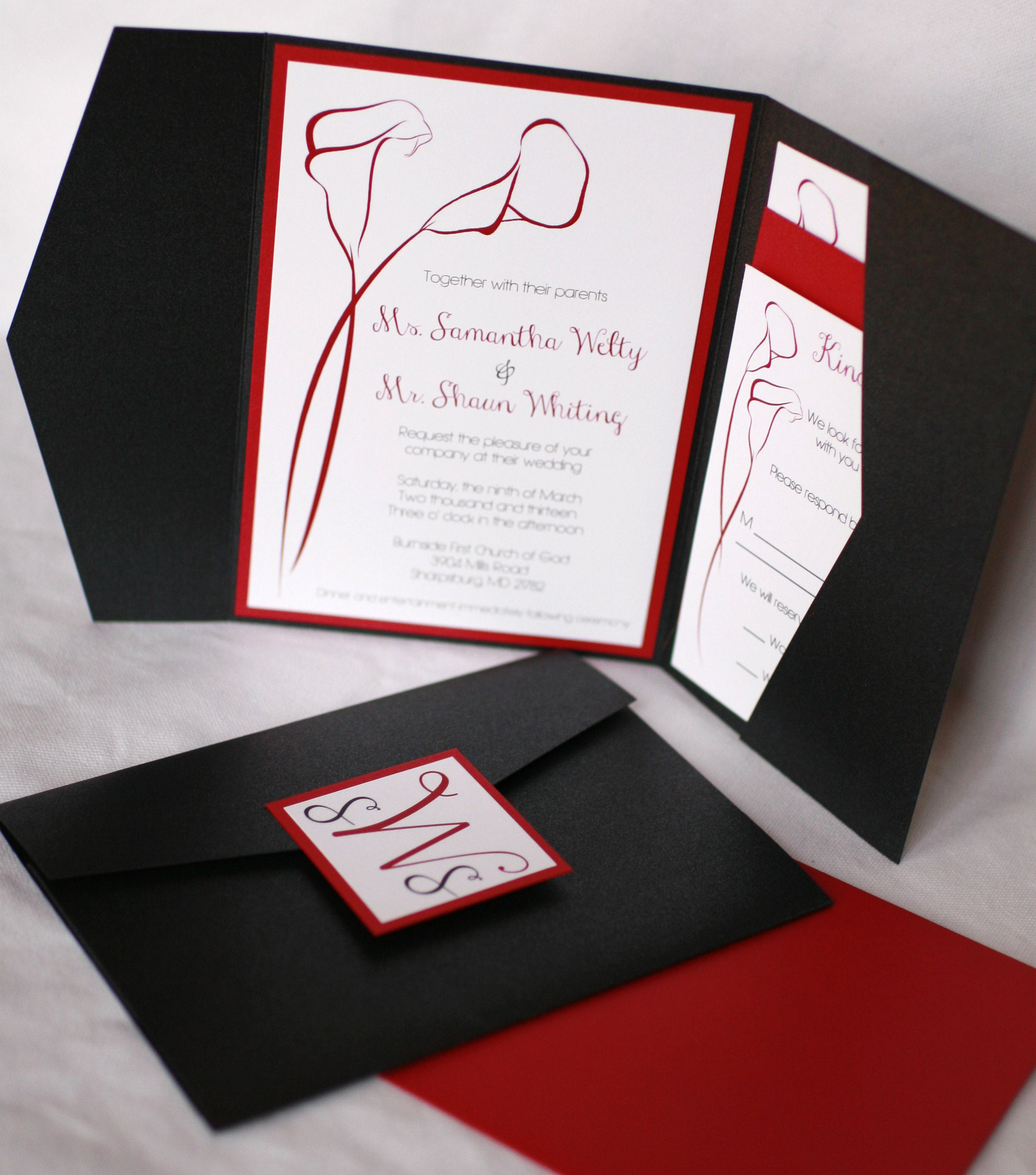 Red, White, and Black Pocket Folder Invitation with a Monogram Card ...