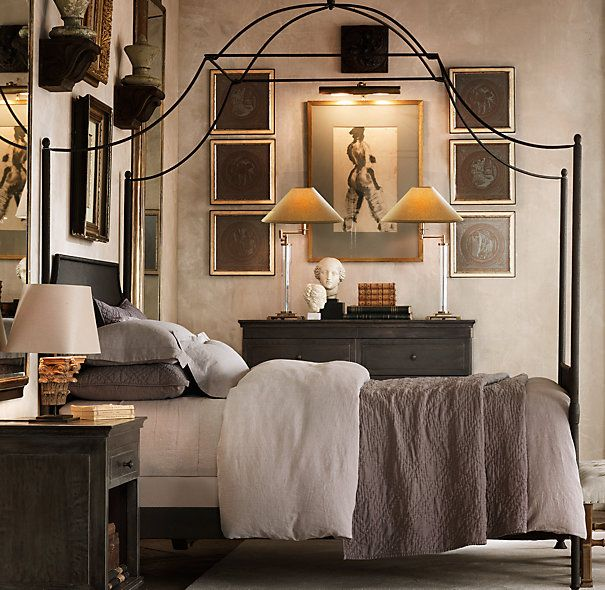 C Campaign Iron Canopy Bed Metal Beds Restoration Hardware