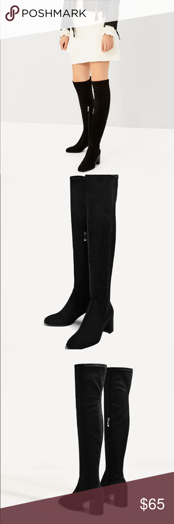 Zara Stretch High Heel Over The Knee Boots Boots Over The Knee Boots High Heels