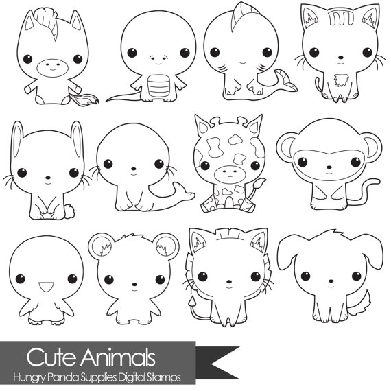 Animal Digital Stamp Cute Digital Stamps Commercial Use Digital