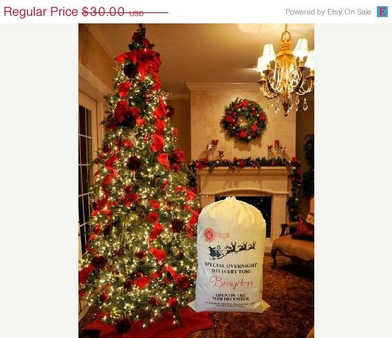 ON SALE Santa sack Personalized Santa Sack by thecraftgiraffe