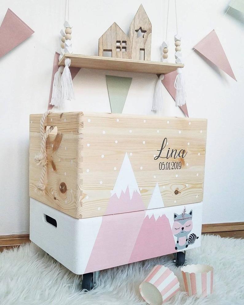 Wooden Box Toy Box Legobox Toy Box On Wheels M O U N T A I N S In 2020 Toy Boxes Wooden Boxes Wooden Toy Boxes