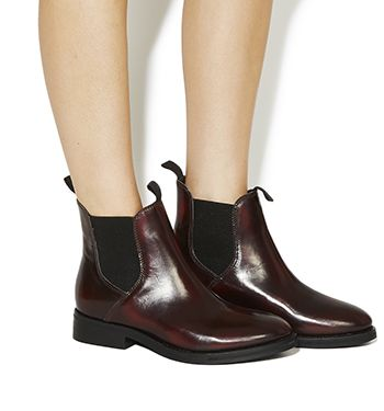 Office Cockney High Cut Chelsea Boots Burgundy Brush Off Leather - Ankle  Boots