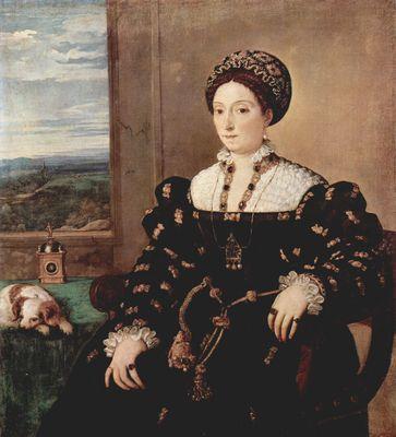 Retrato de Eleonora Gonzaga, por Tiziano. La dama se muestra en la lejanía aristocrática de su opulento atuendo, pero con ciertas alusiones a la vida cotidiana (reloj, ventana abierta al paisaje, perrito dormido) que la acercan al espectador. Galleria degli Uffizi, Florencia.