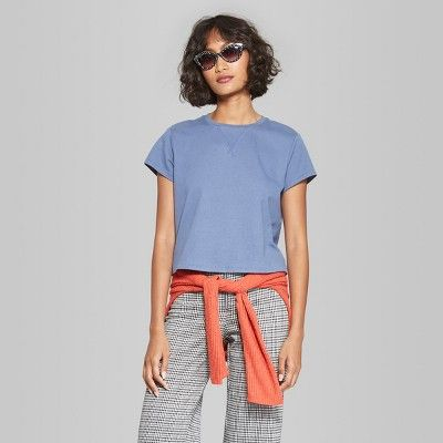b59f153160a Women s Short Sleeve Boxy Cropped T-Shirt - Wild Fable Blue XS ...