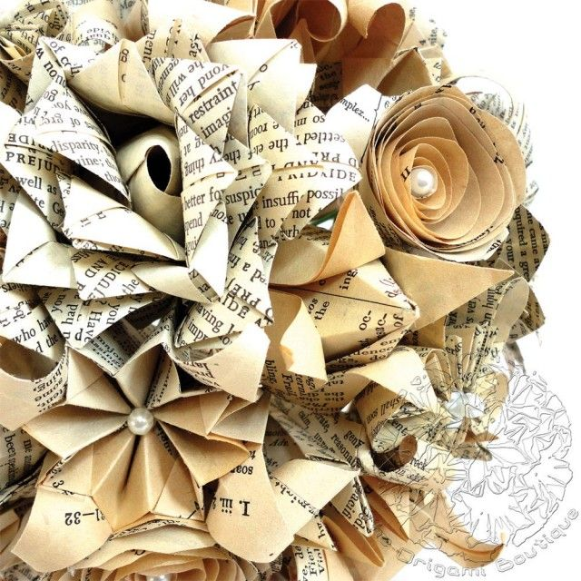 Book Pages Origami Mix Flowers Wedding Bouquet