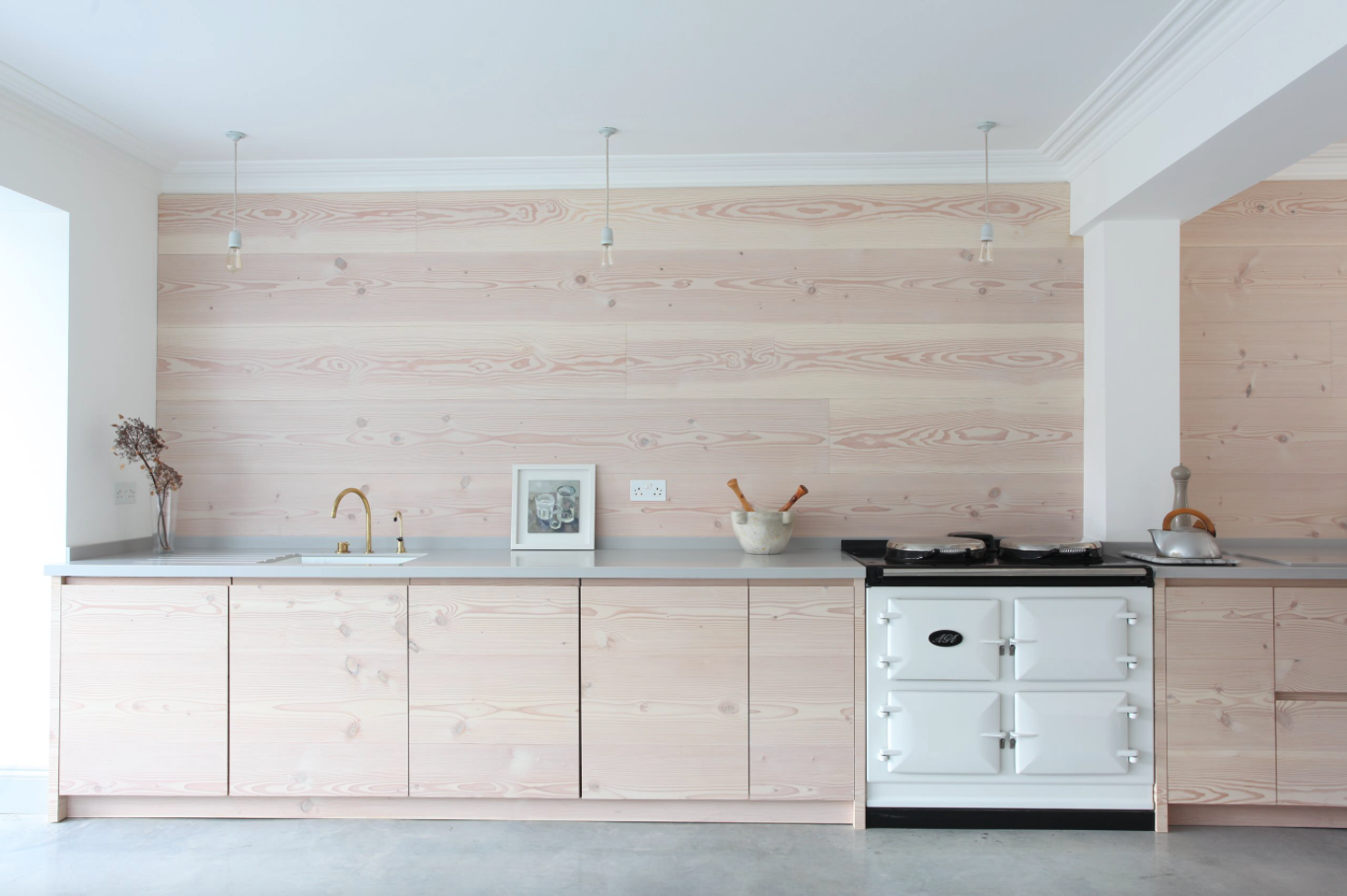 Scandinavian Style In London Douglas Fir Boards For The Walls And Cupboards And Color Matched With Elephant Timber Kitchen House Interior Kitchen Renovation