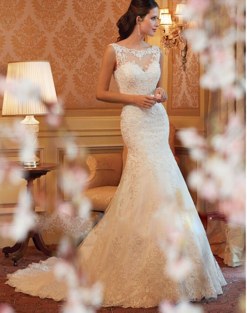 Strapless fitted lace wedding dresses  Mermaid Wedding Dress  Sweet Heart Strapless High collar Lace