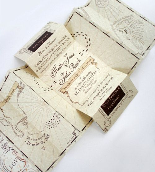 Marauder's Map themed wedding invites. The good thing about planning for a small wedding is that you can spend a bit more on awesome little details like Harry Potter themed wedding invites!