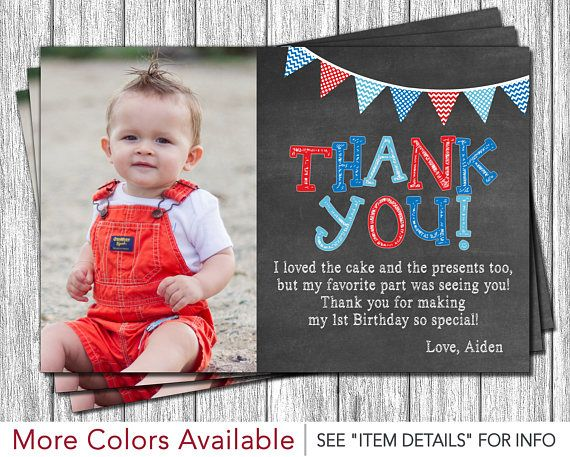 First Birthday Thank You Card 1st Birthday Chalkboard Thank You