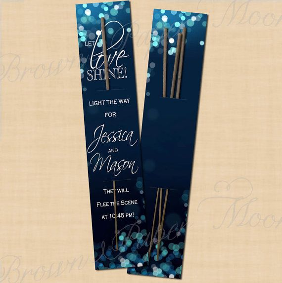 Midnight Blue Wedding Decorations: Night Sky Editable Sparkler Cards 2 X 10 By BrownPaperMoon