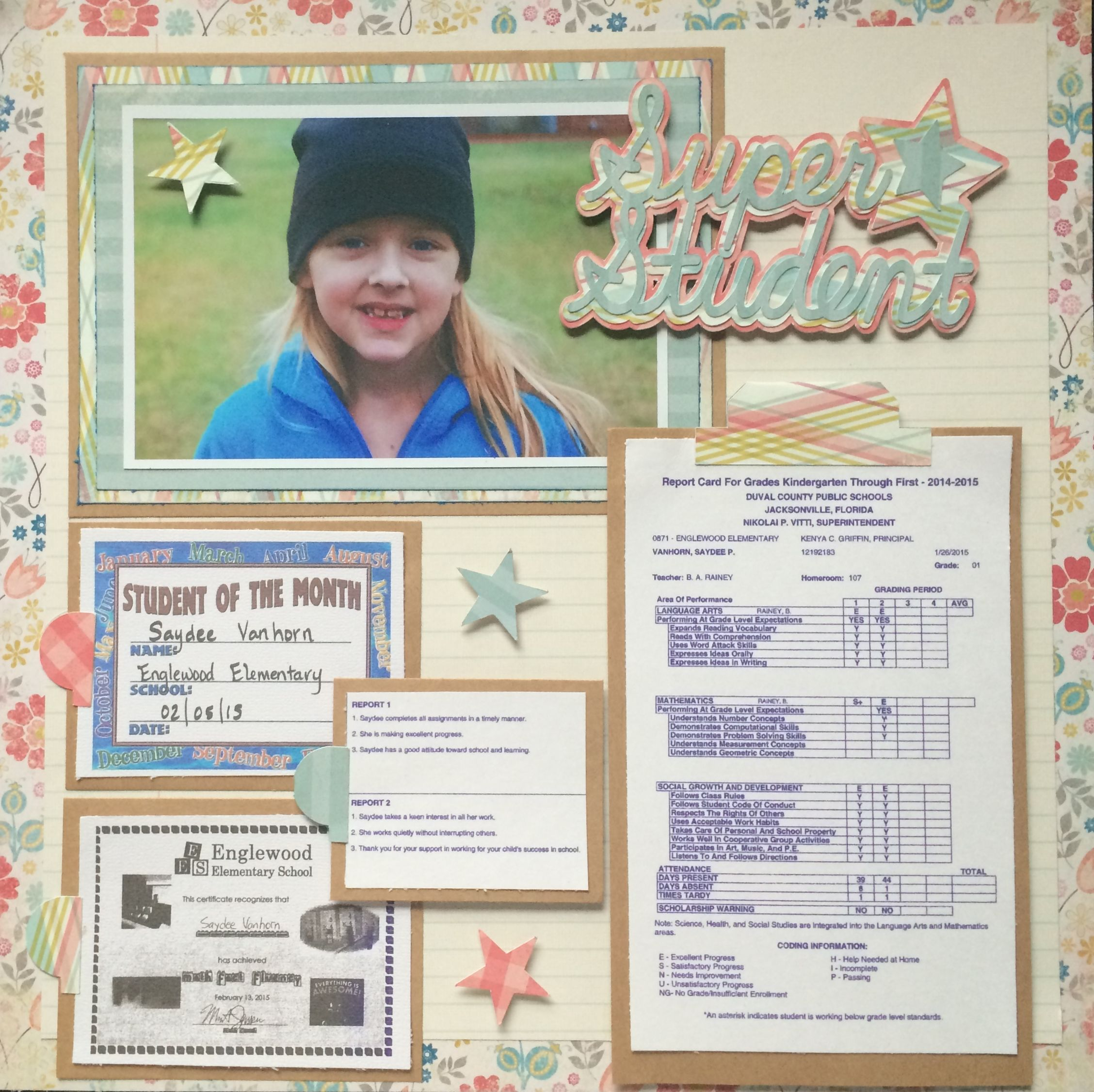 Elementary school scrapbook ideas - Star Student Scrapbook Page Cricut Explore