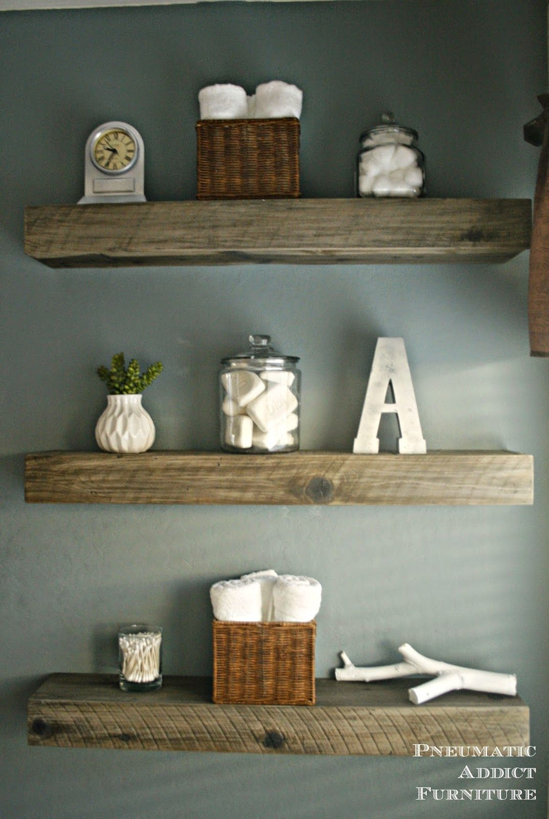 How To Create a Weathered Barnwood Look With This Inexpensive Substitute.  Shelves For BathroomBathroom IdeasBathroom WallReclaimed Wood ... - How To Create A Weathered Barnwood Look With This Inexpensive
