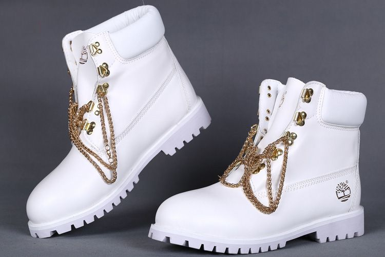 cf5a3e90209b White Timberland Boots With Gold Chains 6 Inch
