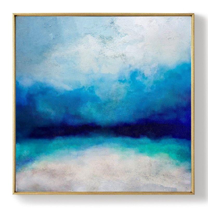 Original Turquoise Sea And Blue Sky Landscape Painting Sky Landscape Oil Painting Large Wall Sea Sky Landscape Painting Turtle Wall Art Oil Painting On Canvas
