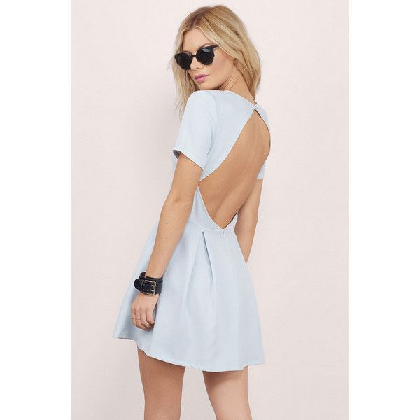 Tobi Paloma Backless Skater Dress ($50) ❤ liked on Polyvore featuring dresses, light blue, pink skater dress, tobi dresses, open back skater dress, skater dress and pink dress
