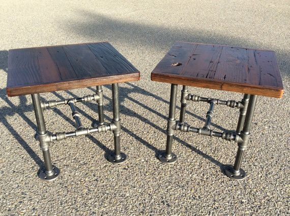 High Quality Industrial Square End Table With Reclaimed Wood And Black Pipe