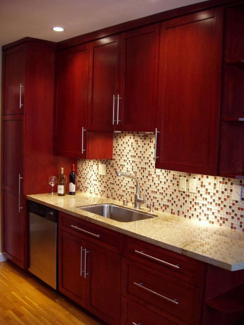 Cherry Cabinets With Glass Tile Backsplash Cherry Wood Kitchen Cabinets Cherry Wood Cabinets Cherry Wood Kitchens