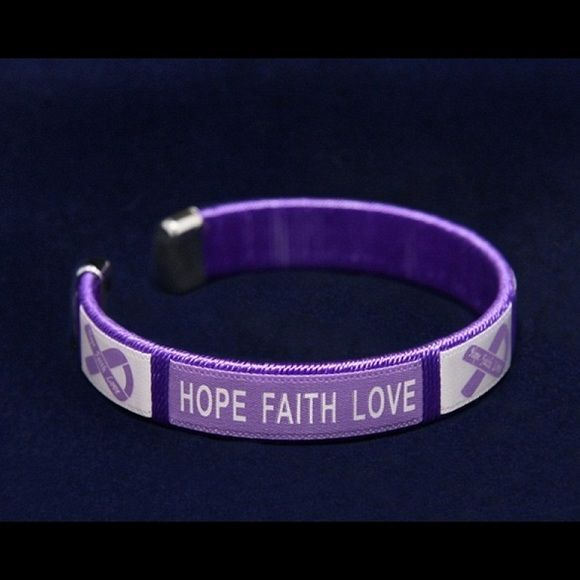 Alzheimers Awareness Hope Faith Bracelets 4 Pack These 4 Purple Ribbon Awareness Bracelets Have A Flexible Faith Bracelet Faith In Love Awareness Bracelet