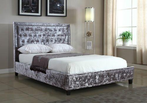 Silver Crushed Velvet Upholstered Designer Bed Frame With Studded