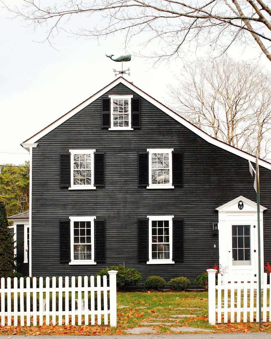 Gorgeous Black House With Whale Weathervane Exterior