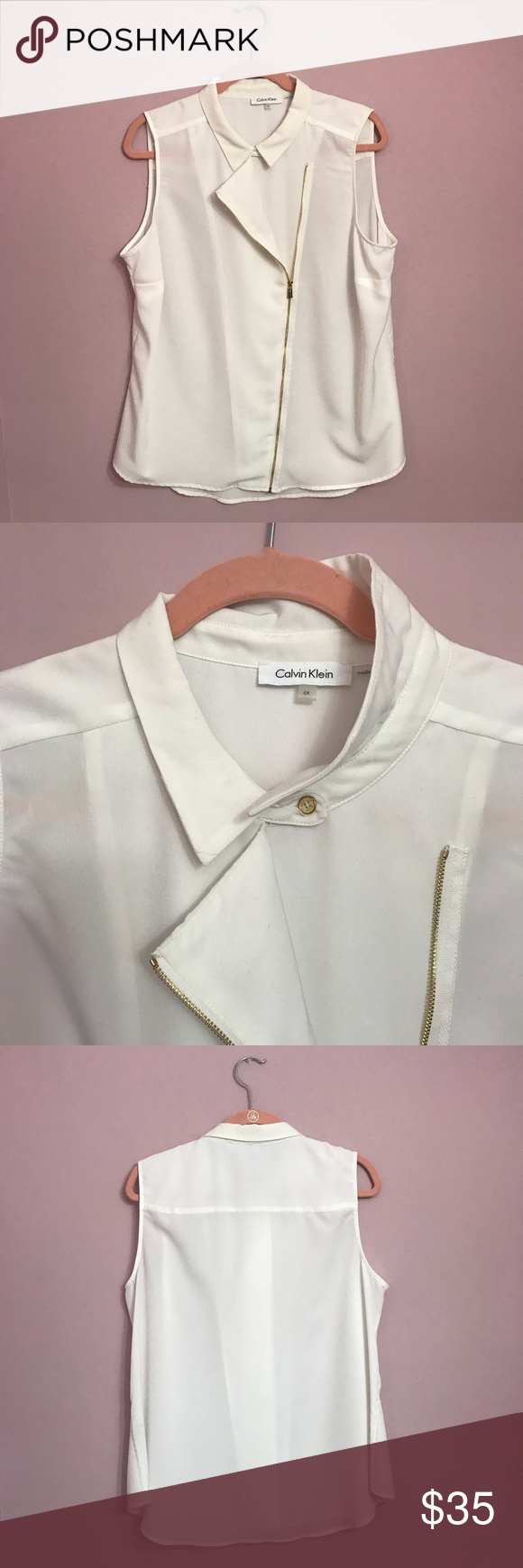 Calvin Klein White Sleeveless Blouse All Occasion