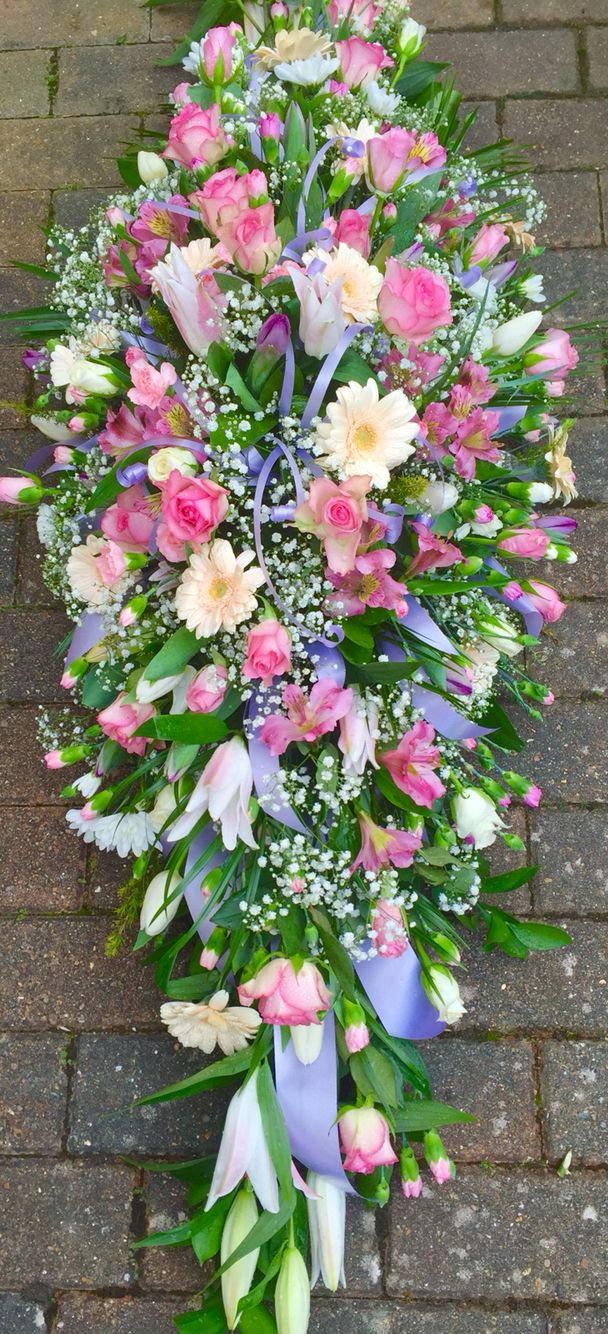Pastel Pinks Lilac Peaches Cream Casket Spray Moms Funeral