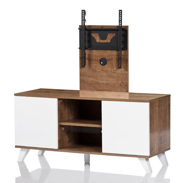 UK CF Madrid Oak TV Cabinet With White Doors And TV Bracket (UKCF