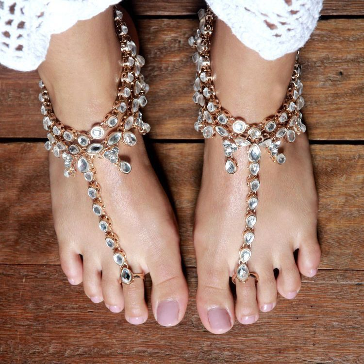 Payal Anklet Indian Wedding Anklets Kundan Anklet with Toe Ring