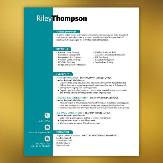 Teacher Resume Package  Pieces Microsoft By Scribblednapkin