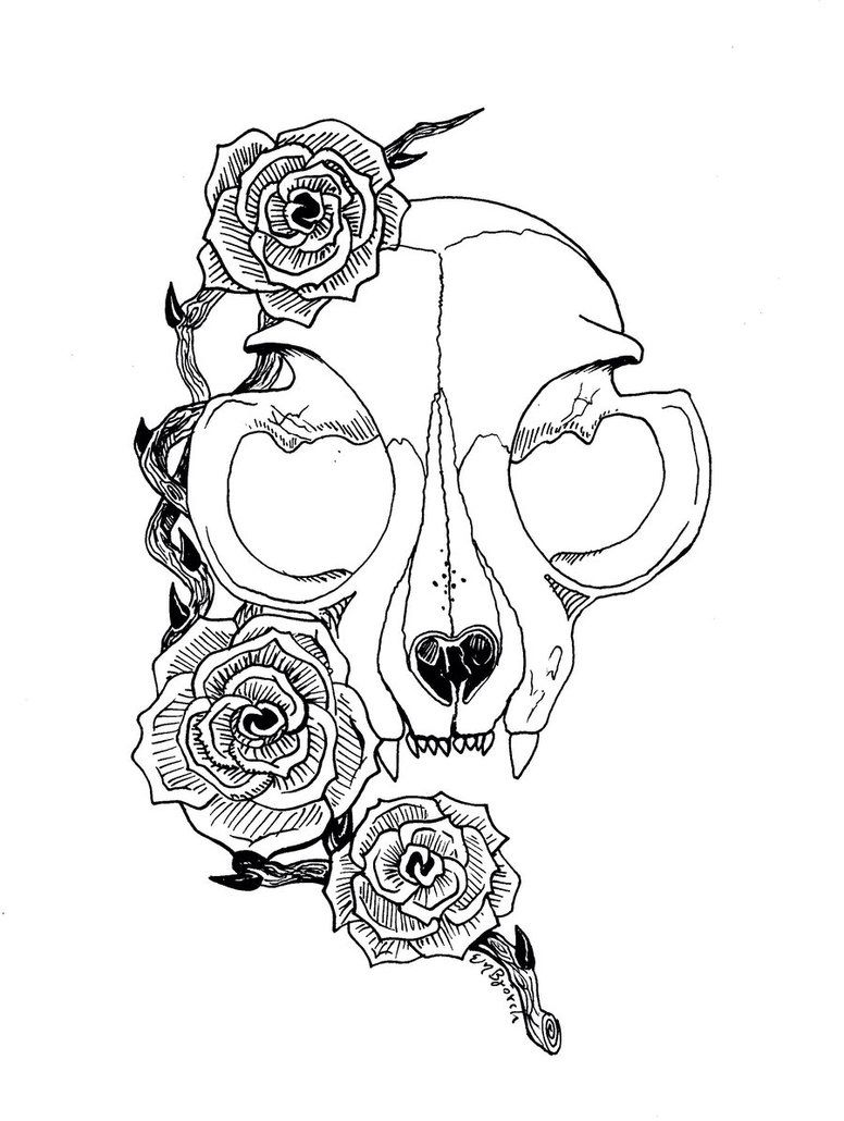 Simple skull tattoo designs - Cat Skull Tattoo Design To Be Used For Inspiration