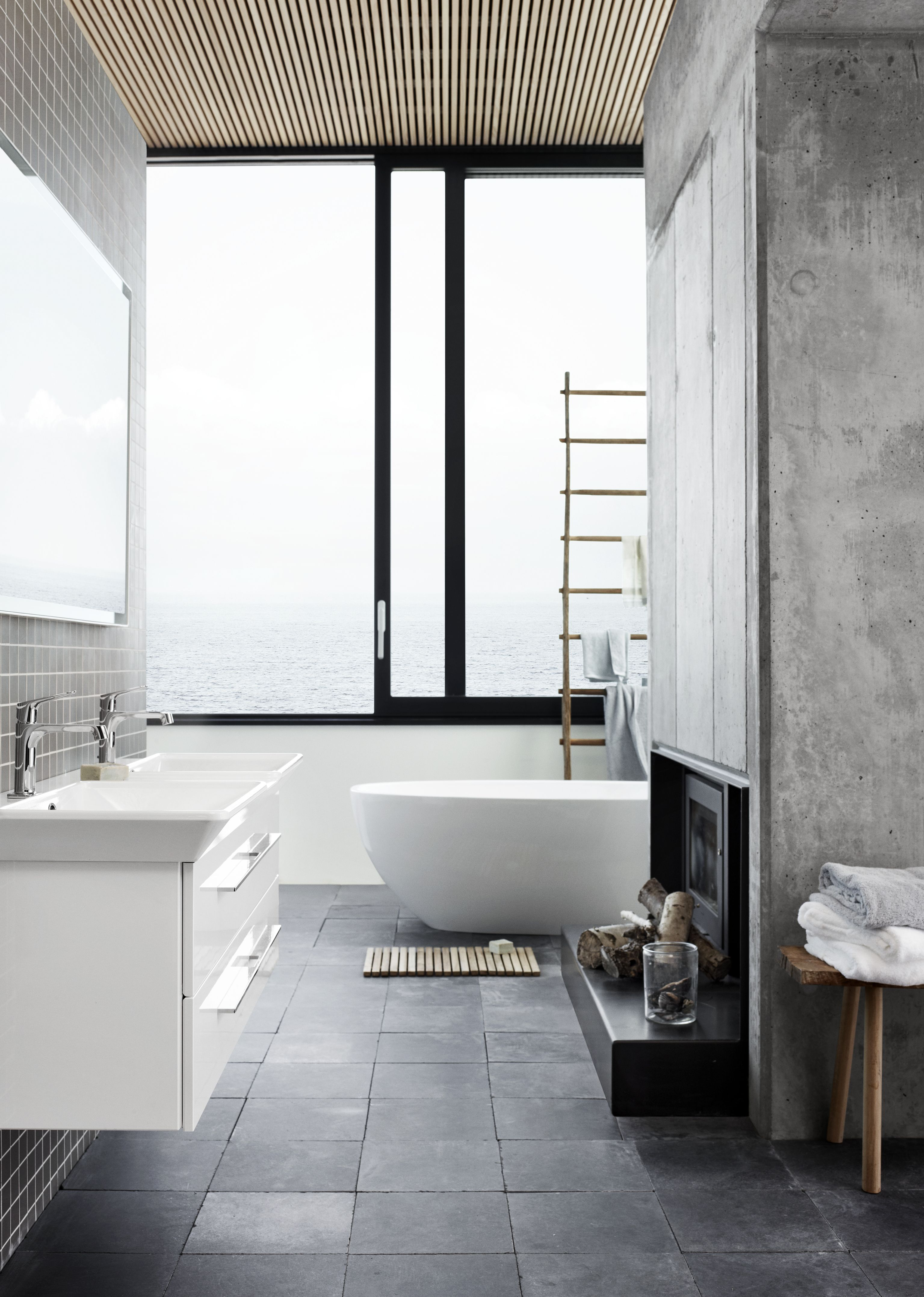 Double washbasin with soft curves and straight lines. An elegant and ...