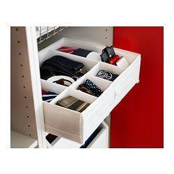 SKUBB Låda med fack, vit - 44x34x11 cm - IKEA. Använd till små garnnystan