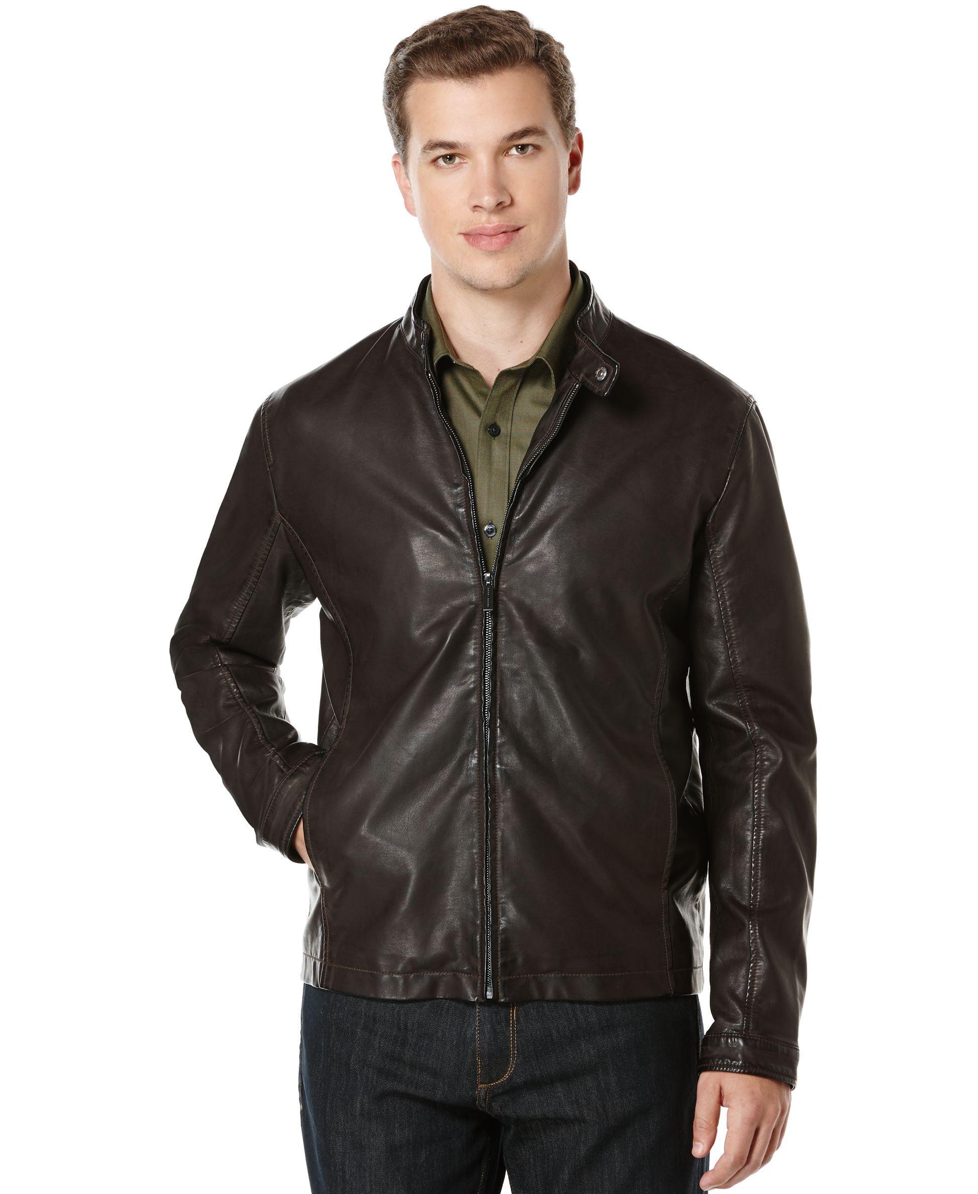 d0de1024e Perry Ellis Faux-Leather Bomber Jacket | Products | Jackets, Leather ...