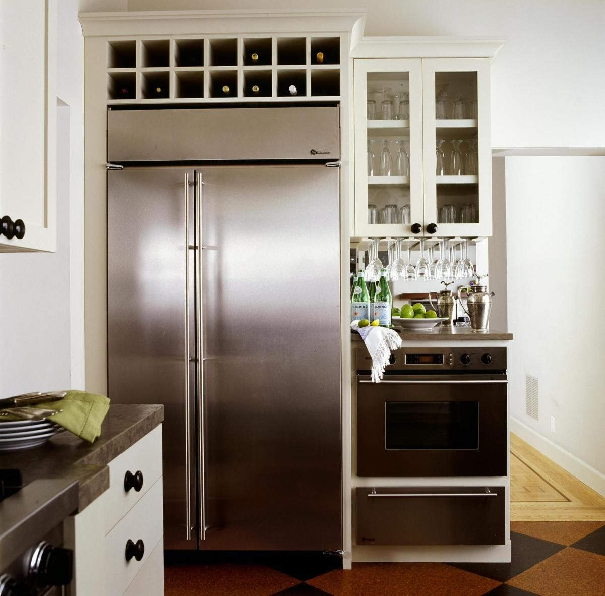 Like The Wine Storage Above Refrigerator Kitchen Remodel