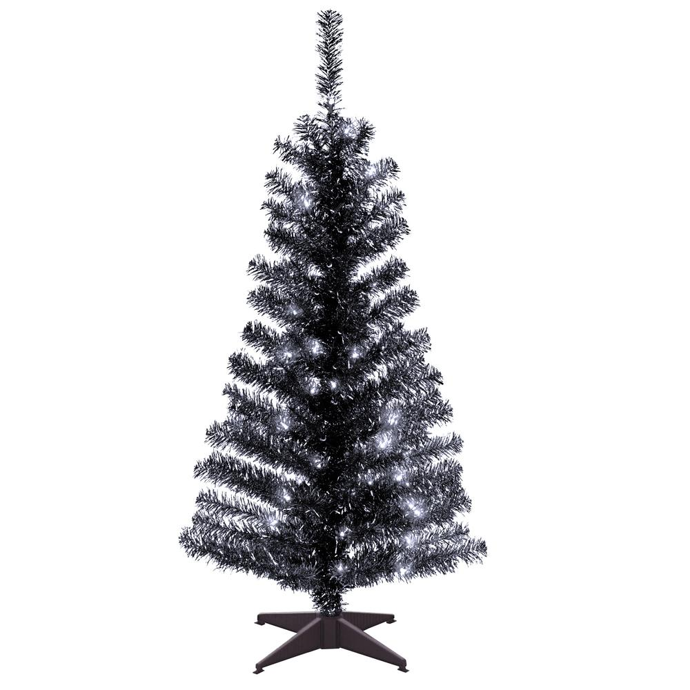 National Tree Company 4 Ft Black Tinsel Artificial Christmas Tree With Clear Ligh Tinsel Christmas Tree Black Christmas Trees Black Christmas Tree Decorations