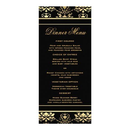 Black and Gold Damask Slim Dinner Menu Full Color Rack Card - dessert menu template