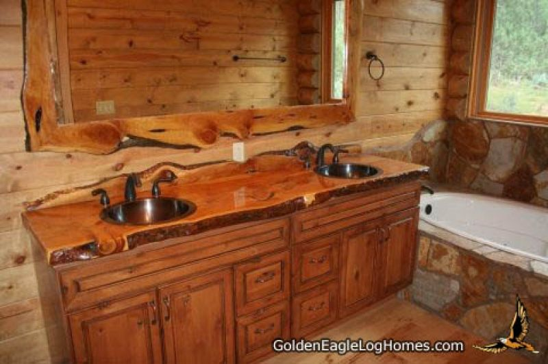Log Home Bathrooms Bathroom With Natural Wood Accents In A Golden Eagle