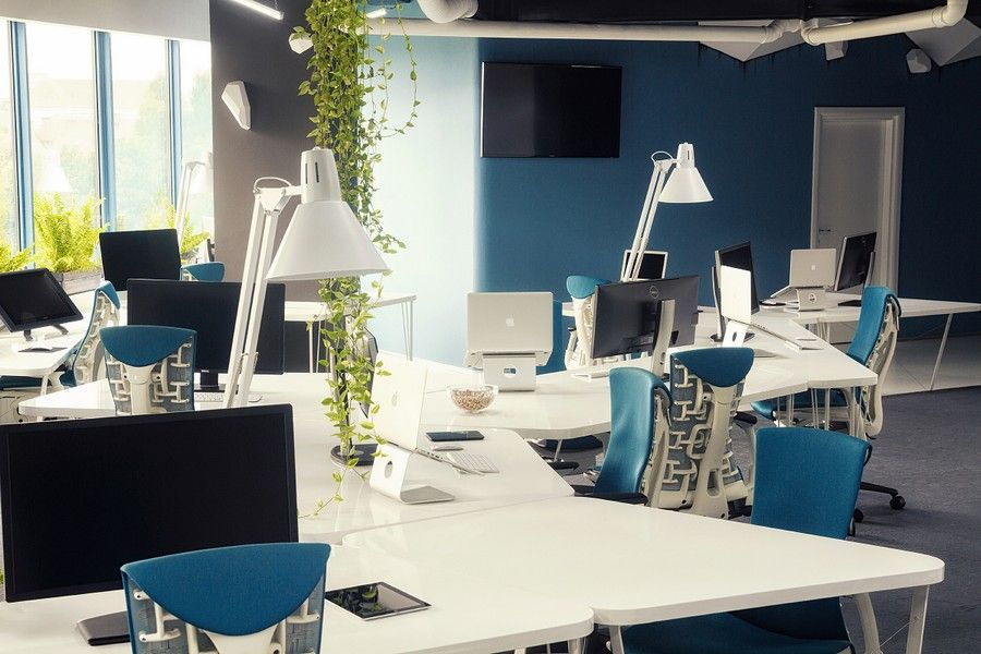 blue white office space. room blue white office space t
