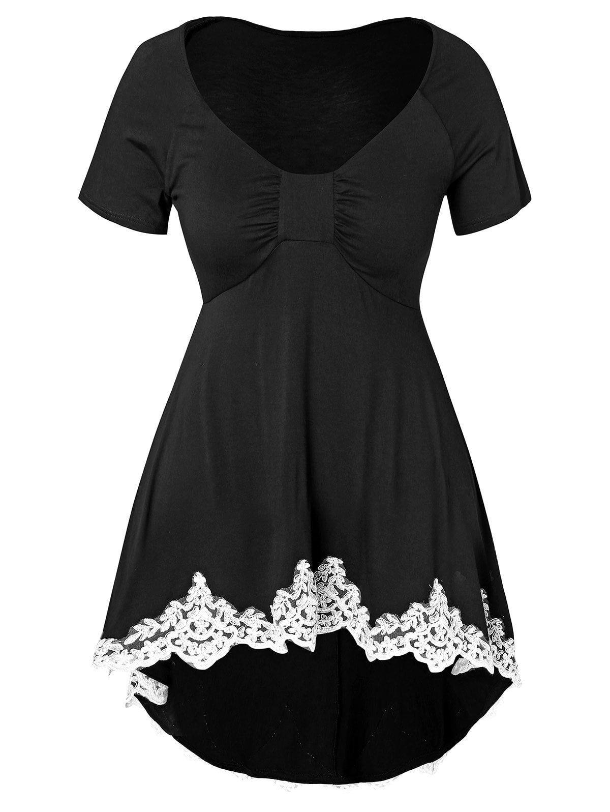 e2f4dba936c61 Plus Size Applique Dip Hem T-shirt Floral Blouse