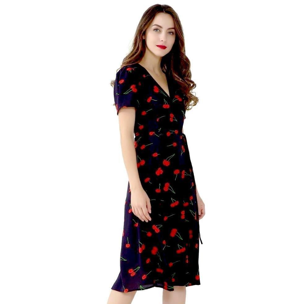 7fa417229a134 Lovely 1940's-inspired navy blue, cherry print wrap dress. | shop ...