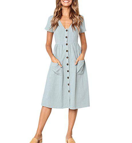 ecc1ec6c680 Aswinfon Robe Longue Femme Ete Chic Manche Courte Casual Col V avec Bouton  Robe Vintage (