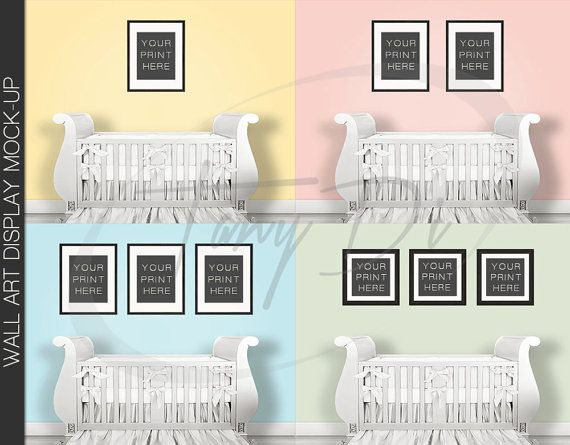 Nursery Interior Photoshop Print Mockup S-N1 | Square Set of 2 3 4 ...