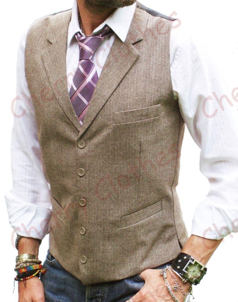 Mens Wool Blend Tweed Brown Beige Lapel Collar Waistcoat Vest Gilet Tailored Fit Ebay Mens Vest Fashion Mens Outfits Waistcoat Men