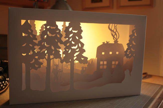 tuto sc ne de neige en papier d coup avec lien vers patron gratuit papercut free template. Black Bedroom Furniture Sets. Home Design Ideas