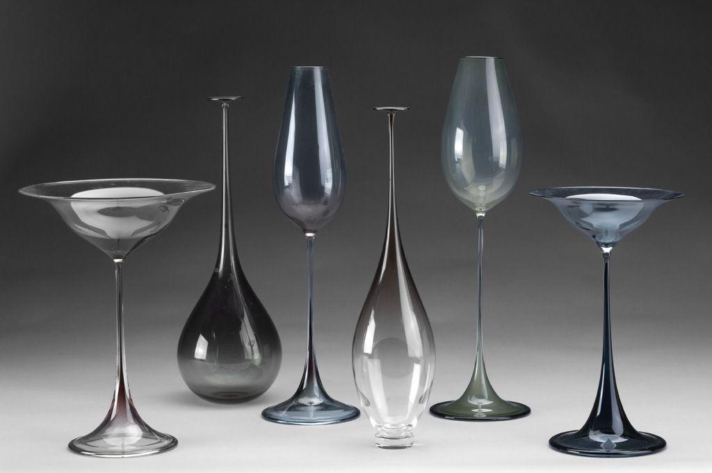 Nils Landberg: Tulip Glass series for Orrefors