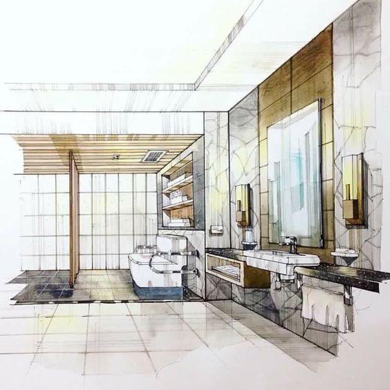 bathroom interior design sketches. interior design sketches, sketch design, sketching, bathroom interior, watercolor illustration, interiors, hands, toilet, perspective sketches u