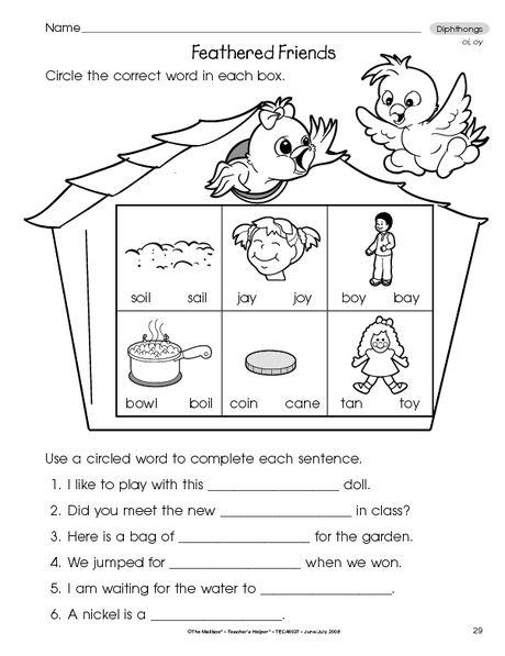 Phonics Worksheet Diphthongs The Mailbox Phonics Phonics Worksheets Lesson Plans Diphthongs oi oy worksheets